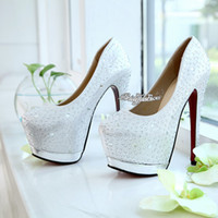Cheap Bridal Pump Beaded Wedding Shoes Sparkling Silver Prom Shoes With High Heel Evening Shoes Bridal Shoes