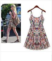 Cheap European Grand Prix 2014 Xiaou America sling Floral Dress new women vest dress bohemian beach dress