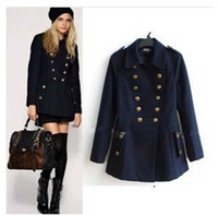 Wholesale Women Wool Blend Double Breasted Coat Autumn Winter Medium long Fashion Slim Jacket Casacos Inverno S0545