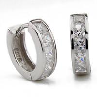 Wholesale Orsa Jewelry Small Hoop Earring Austrian Crystal SWA Elements Sterling Silver Material Elegant Eerring OE02