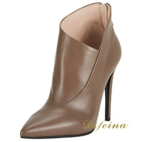 Cheap Fashion Stilettos High Heels Pointed Toe Womens Shoes Heel 12cm Cowhide Short Boots Ankle Boots Lady Shoes US Size3-12 Brown Female Shoes