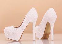 achat en gros de dentelle blanche chaussures de strass-Plateforme talon aiguille Pompes avec strass et Chaussures dentelle femmes mariage blanc 14 CM