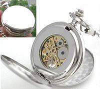 Wholesale Silver Plain Double Open Hunter case Mechanical Pocket Watch fob watch