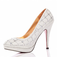 Cheap New Arrival!!! Shining Glitter Silver Beaded High Heels Bridal Shoes Wedding Bridesmaid Shoes Party Prom Shoes