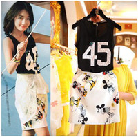 Wholesale Street Summer For Big Girl Dress Numeral Black Tank Tops White Mickey Pocket Skirt Lady Dress Ladies Clothing Women s Outfits Skirts K1085
