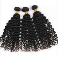 Wholesale Virgin indian hair bundle weft A grade deep wave natural color human hair extensions full head