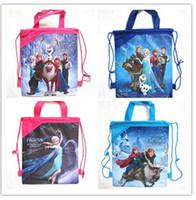Wholesale Frozen Kids School Bag Children Cartoon Drawstring Backpack Bags New Designs Colorful Frozen Bags Anna Elsa Christmas