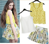 Wholesale Street Summer For Big Girl Dress Hollowed Lace Tank Tops White Vest Butterfly Puff Skirt Lady Dress Ladies Clothing Women s Sets K1086