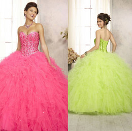 Wholesale NEW Classic Crystal Quinceanera Dresses Hot Fuchsia Fashion Strapless Sweetheart Sequins Lace Up Back Sweet Young Girls Ball Gowns
