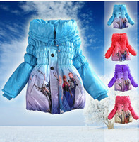 Wholesale 3 color Frozen Elsa Anna down winter coat Kids thick long cotton padded clothes Jacket Coat outwear Frozen A325