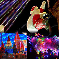 Wholesale 10M LED Multi color Lights Decoration Christmas Party Festival Twinkle String Lamp Bulb With Tail Plug V EU