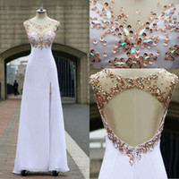 Wholesale 2014 Real Image Evening Dresses Crew Neck Cap Sleeve Rhinestone Crystal Beads Glitz Sheer Illusion Chiffon Hollow Back Formal Prom Gown SU01