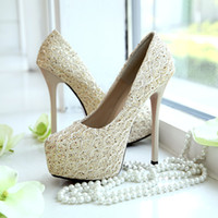 Cheap 2015 Champagne Lace High Heels Bridal Shoes 14 CM Wedding Bridesmaid Shoes Party Prom Shoes