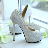 Cheap New Shining! Glitter Silver Lace High Heels Bridal Shoes 14 CM Wedding Bridesmaid Shoes Cheap Party Prom Shoes