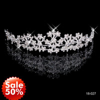 Cheap $8.5 Crystal Beads Crown Tiaras & Hair for Wedding Prom Bridal Accessories Band Jewelry Rhinestone Flower 2014 In Stock 18-027 Cheap