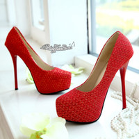 Cheap New Shining! Glitter Red Lace High Heels Bridal Shoes 14 CM Wedding Bridesmaid Shoes Cheap Party Prom Shoes