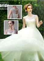 Wholesale 2014 Top Seller HOT Fashion Lace Designer Short Sleeves High necks Sheer straps Ruffles Beaded Sequin Backless Wedding Bridal Dresses