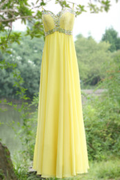Wholesale 2014 Light Yellow Party Dress A Line Chiffon Sweetheart Spaghetti Strap Backless Zipper Beading Crystal Floor Length Prom Dresses Faith
