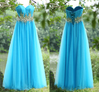 Real Photos su12 - 2015 Real Image Prom Dresses Sky Blue Tulle Beaded Crystal Sweetheart Lace Up Back Empire A Line Long Formal Evening Gowns SU12
