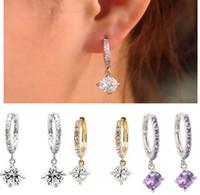 Wholesale Brand New Vintage Gorgeous k white gold filled white Swarovski crystal hoop earring JE06267