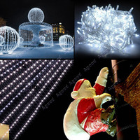 Wholesale 10M LED White Lights Decoration Christmas Party Festival Twinkle String Lamp Bulb With Tail Plug V