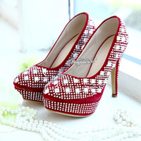 Cheap Beautiful! Glitter Red Crystal Beaded High Heels Bridal Shoes Wedding Bridesmaid Shoes Cheap Party Prom Shoes