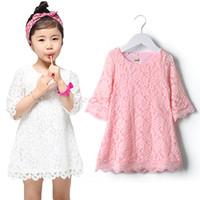 pink dress - Beautiful Lolita Style Children Girls Lace Princess Dress Baby All Match Dresses Kid Autumn Cute White Pink Clothes SV001277