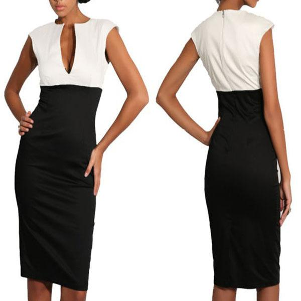 Buy Commuter Ladies Office Dress OL Work dresses Sexy Womens Deep V neck bodycon Business slim Party Pencil