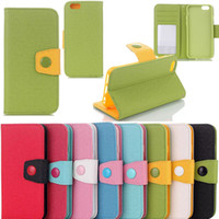 Cheap New Candy Wallet Flip Stand Leather Case Cover Pouch for iPhone 6 4.7 inch With Credit Card Folio Free Shipping MOQ:10pcs