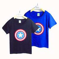 boys t-shirt - Baby boys T shirts kids children short sleeve cotton Captain America t shirt boy tee shirts B012