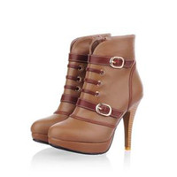 Cheap Fashion Autumn Ankle Boots New Women Shoes High Heels Leather Winter Boots 2014