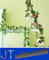 Wholesale Home decoration Artificial roses flower vine rattan cane Wedding garland festive party suppliers Plastic flower wall HSA0784