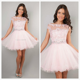 Wholesale 2014 Cute Short Prom Dresses Pink High Neck Beaded Applique See Through Cheap Junior Girls Graduation Dresses Party Dresses Homecoming Gowns