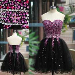 Wholesale Best Selling Little Black Dresses Bling Homecoming Dresses Crystal Beaded Lace Up Short Cocktail Prom Dress Graduation Party Gowns SU04 SSJ
