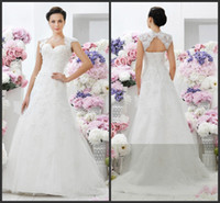 Cheap Hot Sale Retro 2014 New Stunning Lace Heart Shaped Western Hollow Styles Bolero Celtic Wedding Dresses