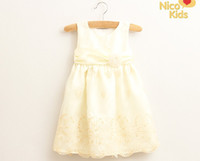 baby clothing fabric - 2014 Baby Girl Party Princess Dress Sleeveless Children Vest Dresses Pure Cotton Inside Silky Soft Fabrics Pink And Beige Kids Clothes WD156