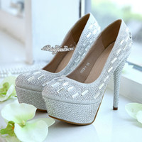 Cheap Silver Prom Party Shoes Beaded Crystal Shoes Romantic Flowers Lace Wedding Shoes Rhinestone Wedding Heels Wedding Accessories