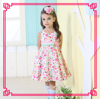 TuTu Summer A-Line 2014 China wholesale Fitting Multi Color Summer 4-10Y Round neck Sleeveless 100% Cotton Flower belt Girl's Dresses 2811