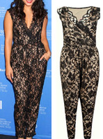 plus size womens clothing - Black Floral Lace Jumpsuit Casual V Neck Rompers Womens Clothing Set plus size XL B5004