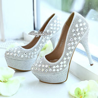 Cheap New Arrival Shining! Silver Prom Party Shoes Crystal Shoes Romantic Flowers Wedding Shoes Rhinestone Wedding Heels Wedding Accessories