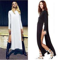 t-shirt dresses - S Women Sexy Casual Side High Slits Tee Long Top Maxi Dress T shirt Tops Blouse
