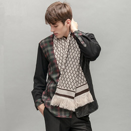Wholesale The European and American fashion new men grid tassel scarf Super thick warm scarf