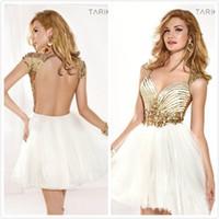 Cheap 2014 New Tarik Ediz Charming Beading Sequin Sweetheart Sleeveless A-Line Short Mini Tulle Backless Prom dresses Cocktail Homecoming gown