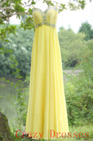Wholesale 2014 Yellow Prom Evening Dresses Chiffon Sweetheart Empire Beads Sequins Pleats Zipper Spaghetti Floor Length Formal Evening Gown Sexy Faith