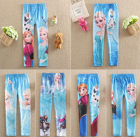 Spring Autumn Girls Leggings Frozen Elsa Anna OPrinted Cotto...