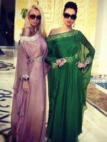 Cheap Custom Made Arabic Evening Dresses Chiffon Crystal Beaded Muslim Evening Dress Dubai Kaftan Abaya