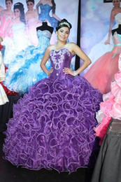 Wholesale New Coming Purple Organza Intricately Pleats Swirl Ball Gowns Debutante Dresses With Applique