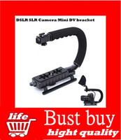 Wholesale C Shape flash Bracket holder Video Handle Handheld Stabilizer Grip for DSLR SLR Camera Mini DV Camcorder hight quality top sale free ship