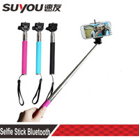 Wholesale Extendable Self Portrait Selfie Handheld Stick Monopod Wireless Bluetooth Remote Control for IOS Android Phones