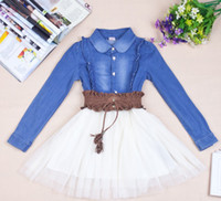 Wholesale For Big Girl New Korean Spring Autumn Girls Cowboy Match Tutu Long Sleeve Dress Girls Gauze Tulle Skirt Girls Dress Child Clothes J1517
